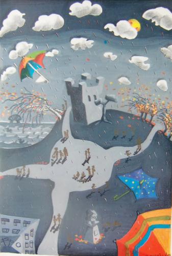 Sundbyberg Stad, vykort;  Höst - vattentornet